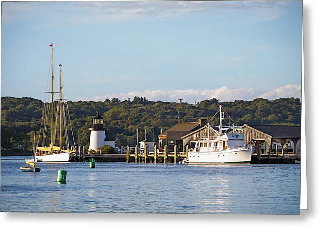 Tall Ship Greeting Cards - On the Waterfront Mystic CT Greeting Card by Marianne Campolongo