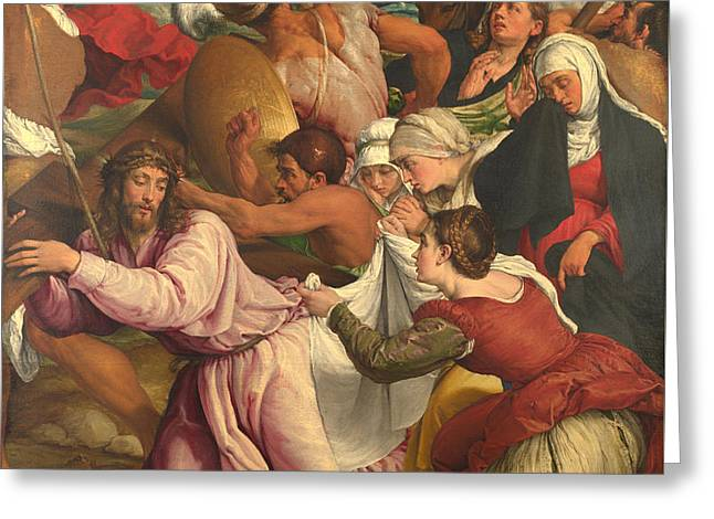 The Followers Greeting Cards - On The Way To Calvary Greeting Card by Jacopo Bassano