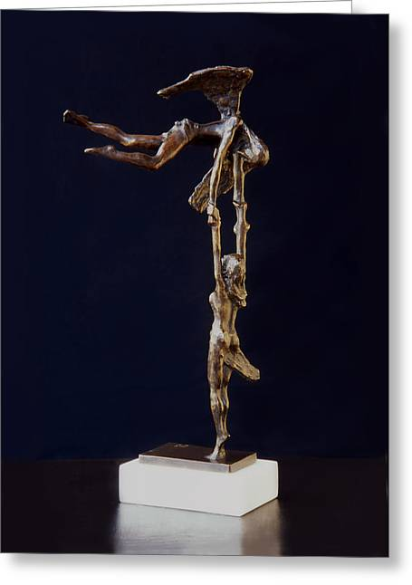 Figurative Sculptures Greeting Cards - On the Way to Heaven Greeting Card by Leonardo Pereznieto