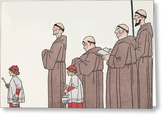 Little Boy Drawings Greeting Cards - On The Way To Mass Greeting Card by Georges Barbier