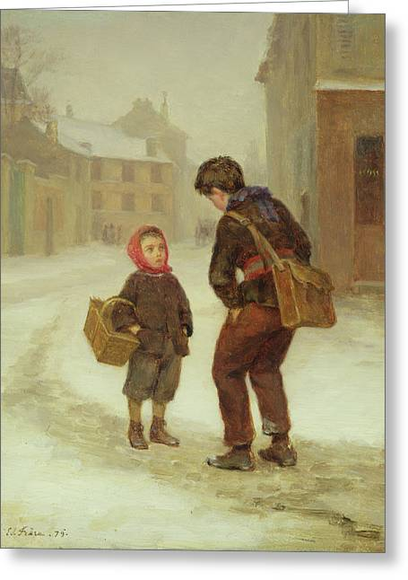 Snowy Day Greeting Cards - On the way to school in the snow Greeting Card by Pierre Edouard Frere