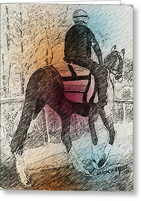On The Way To The Workout Greeting Card by Arline Wagner