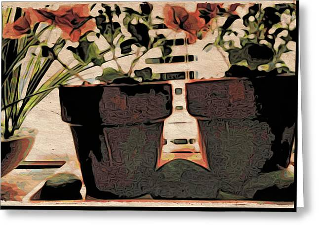 Kitchen Photos Paintings Greeting Cards - On the Windowsill Greeting Card by Bonnie Bruno
