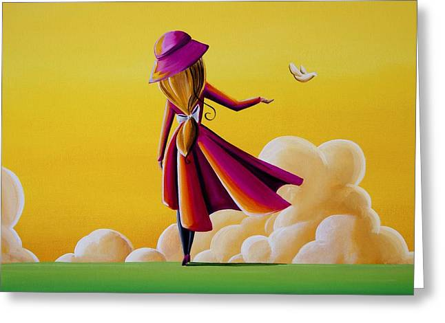 Freed Paintings Greeting Cards - On The Wings Of A Dove Greeting Card by Cindy Thornton