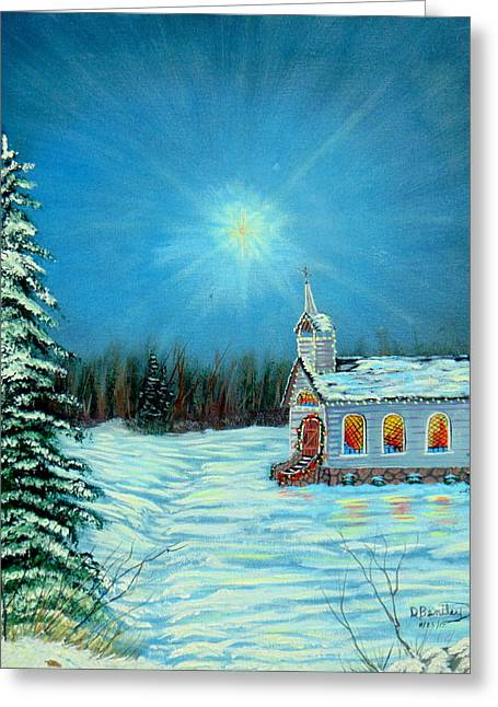 Drifting Snow Paintings Greeting Cards - On This Night Greeting Card by David Bentley