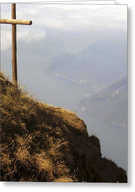 Swiss Cross Greeting Cards - On Top of the World Greeting Card by Christina Gupfinger