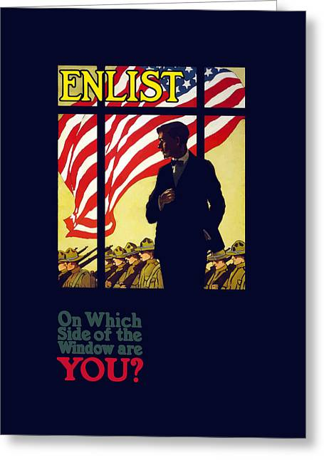 Ww1 Greeting Cards - On Which Side Of The Window Are You Greeting Card by War Is Hell Store