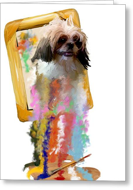 Dogs Digital Art Greeting Cards - Once Imagined Greeting Card by Richard Okun