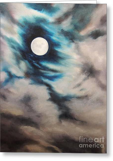 Winter Night Greeting Cards - Once In A Blue Moon Greeting Card by Alexandra Lavizzari