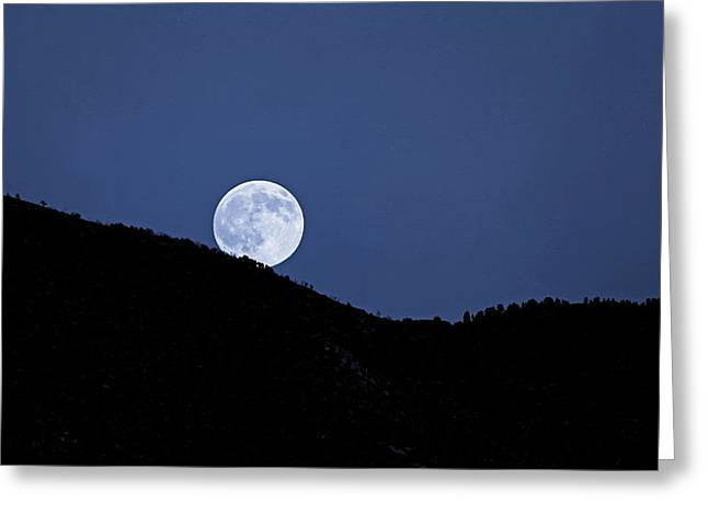 Moonrise Greeting Cards - Once In A Blue Moon  Greeting Card by Donna Kennedy