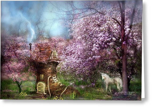 Unicorn Art Print Greeting Cards - Once Upon A Springtime Greeting Card by Carol Cavalaris