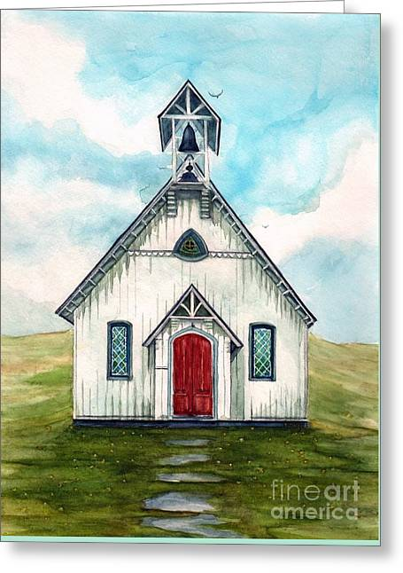 Once Upon A Sunday - Country Church Greeting Card by Janine Riley