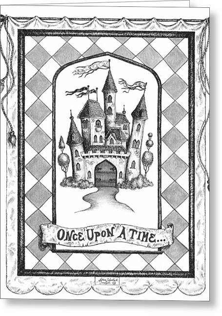 White Drawings Greeting Cards - Once Upon a Time Greeting Card by Adam Zebediah Joseph