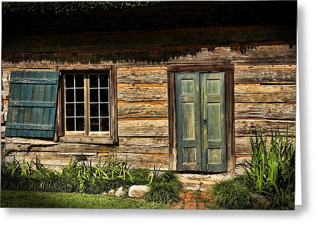 Log Cabins Greeting Cards - Once Upon A Time Greeting Card by Judy Vincent