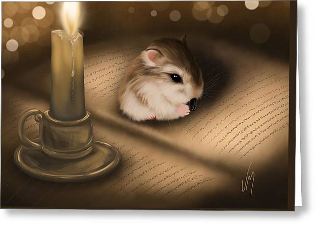 Candle Lit Paintings Greeting Cards - Once upon a time... Greeting Card by Veronica Minozzi