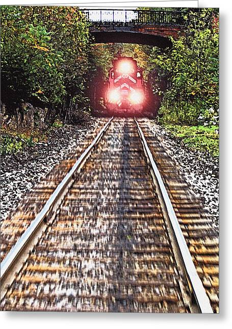 Train On Bridge Greeting Cards - Oncoming Train Greeting Card by Steve Ohlsen