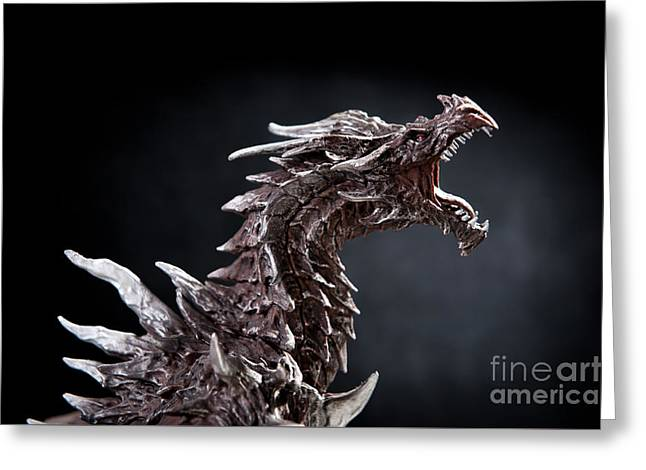 Statue Portrait Greeting Cards - One Alduin dragon portrait Greeting Card by Arletta Cwalina