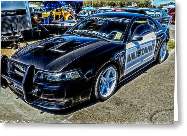 Police Cruiser Greeting Cards - One Bad Ass Squad Car Greeting Card by Tommy Anderson