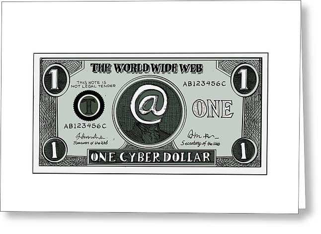 Play Money Greeting Cards - One Cyber Dollar Etching Greeting Card by Aloysius Patrimonio