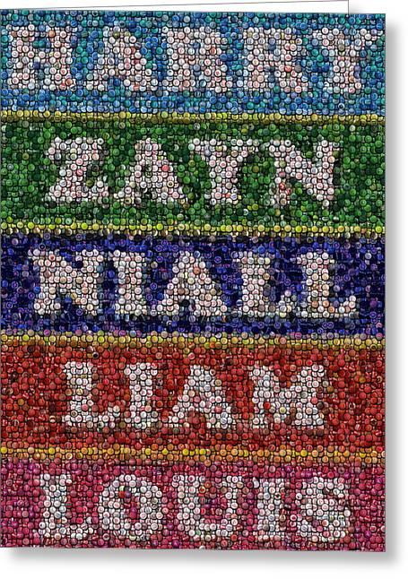 One Direction Names Bottle Cap Mosaic Greeting Card by Paul Van Scott