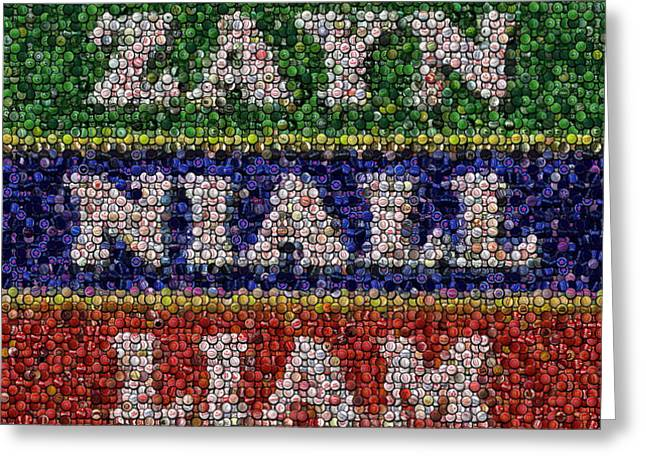 One Direction Names Bottle Cap Mosaic Greeting Card by Paul Van Scott
