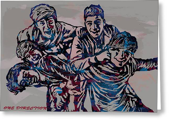 Payne Greeting Cards - One Direction Pop Stylised Art Poster Greeting Card by Kim Wang