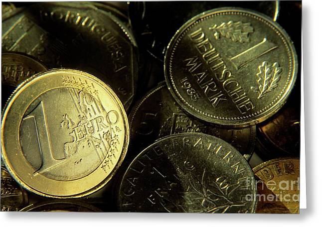 Standing Out From The Crowd Greeting Cards - One euro coin among a pile of franc and deutsche mark coins Greeting Card by Sami Sarkis