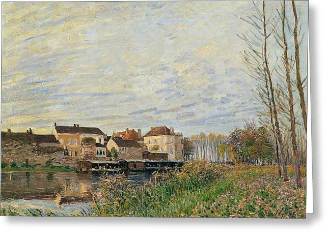 One Evening At Moret End Of October Greeting Card by Alfred Sisley
