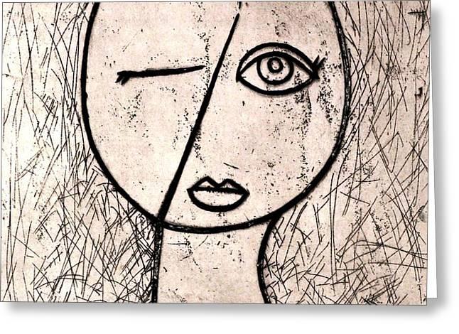 One Eye Greeting Card by Thomas Valentine