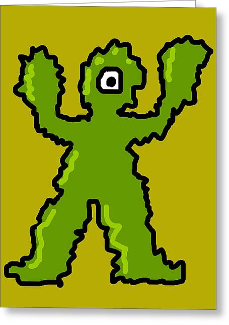 Character Portraits Greeting Cards - One Eyed Monster Greeting Card by Jera Sky