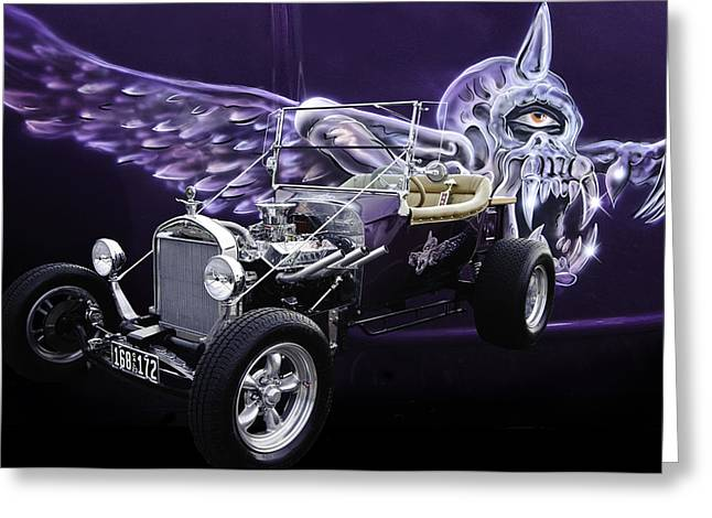 Ford Model T Greeting Cards - One Eyed One Horned Giant Purple People Eater Greeting Card by Jim  Hatch
