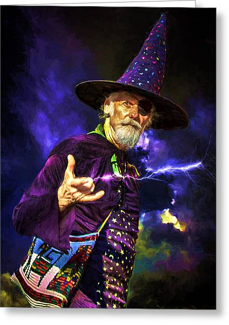 Purple Robe Greeting Cards - One Eyed Wizard Greeting Card by John Haldane