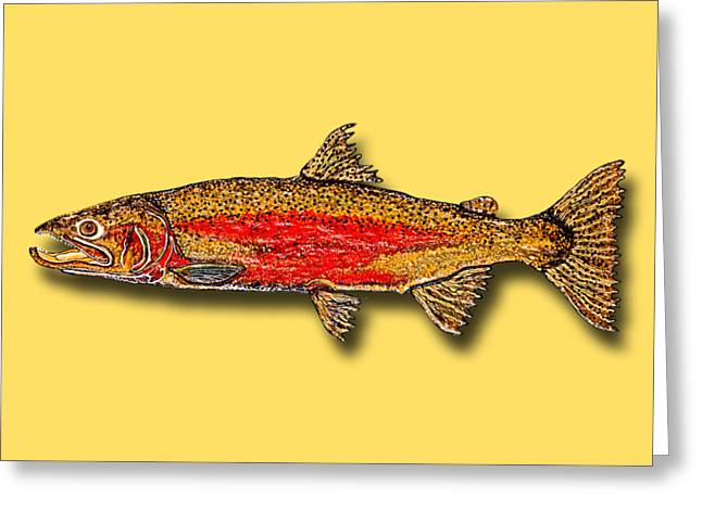 Salmon Paintings Greeting Cards - One Fish Greeting Card by Debbie Chamberlin