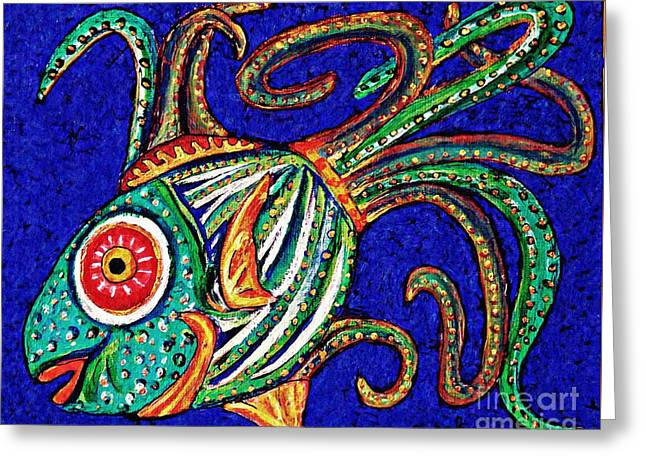 Fanciful Paintings Greeting Cards - One Fish Greeting Card by Sarah Loft