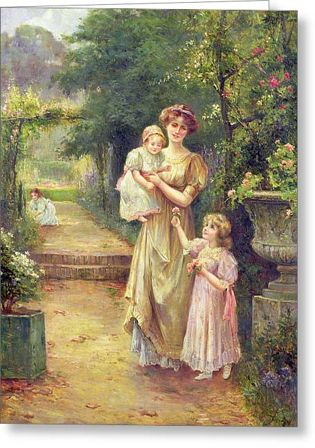 One For Baby Greeting Card by Ernest Walbourn