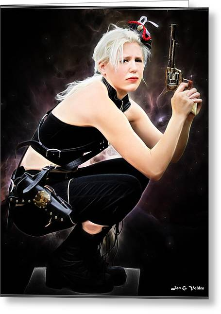 Dungeons Greeting Cards - One Gun Sally Greeting Card by Jon Volden