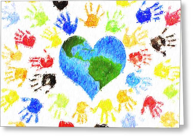 One Heart Greeting Card by Tim Gainey