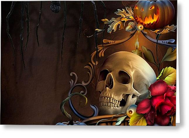Floral Digital Art Digital Art Greeting Cards - Scary Shadows Greeting Card by G Berry