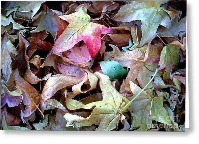 Green Abstract Greeting Cards - One in a million leaves Greeting Card by Marcy  Orendorff