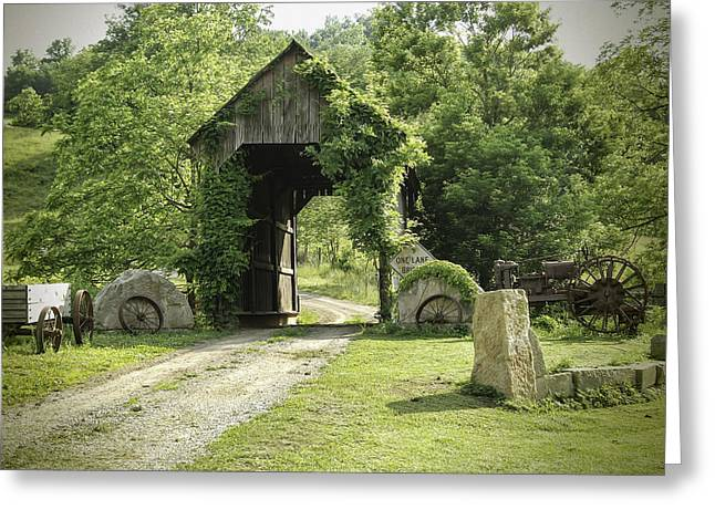 Scenic Drive Greeting Cards - One Lane Covered Bridge Greeting Card by Phyllis Taylor