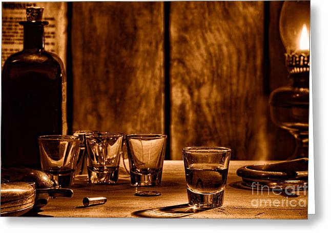 One Last Drink - Sepia Greeting Card by Olivier Le Queinec