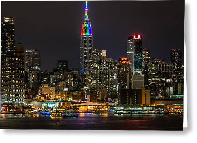 New Greeting Cards - New York City Skyline - One Love Greeting Card by Michael Santos