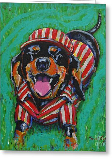 One Lucky Dog Greeting Card by Tami Curtis