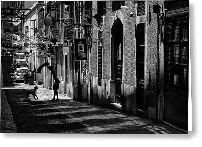 Citylife Greeting Cards - One Man and His Dog. Bairro Alto. Lisbon Greeting Card by Carol Japp