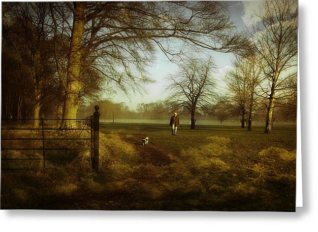 One Man And His Dog Greeting Card by Janet Meehan