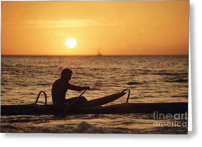 One Man Canoe Greeting Card by Sri Maiava Rusden - Printscapes
