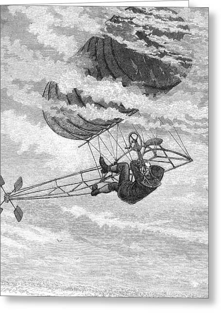 One-man Dirigible, 1878 Greeting Card by Granger