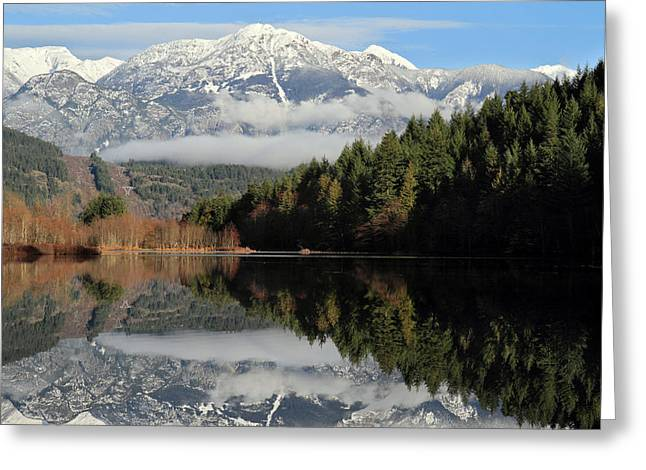 Mile One Greeting Cards - One Mile Lake reflection Pemberton Greeting Card by Pierre Leclerc Photography