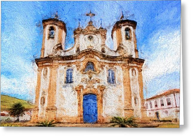 Historic Site Mixed Media Greeting Cards - One More Church in Ouro Preto Greeting Card by Andrea Ribeiro