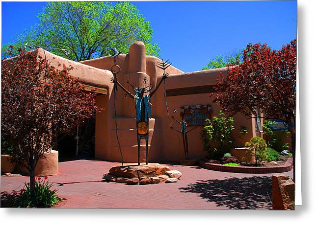 Adobe Greeting Cards - One of the many Art Galleries in Santa Fe Greeting Card by Susanne Van Hulst